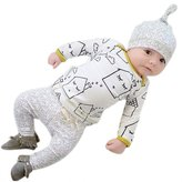 SUPPION Newborn Baby Shirt Top Pants Hat Outfits sets