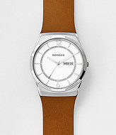Skagen Melbye Analog & Date Leather-Strap Watch