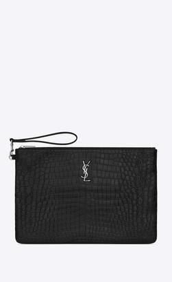 Saint Laurent Monogram Slg Monogram Document Holder In Crocodile Embossed Leather Black Onesize