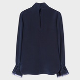 Paul Smith Women's Navy High-Neck Silk Top With Frill Cuffs
