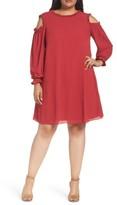 London Times Plus Size Women's Cold Shoulder Georgette Shift Dress