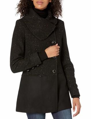 Kensie Women's Wool Collar Coat with Gold Flecks