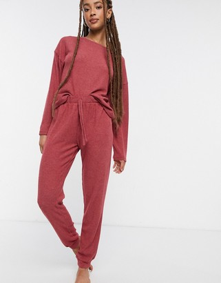New Look soft ribbed lounge set sweatpants in pink
