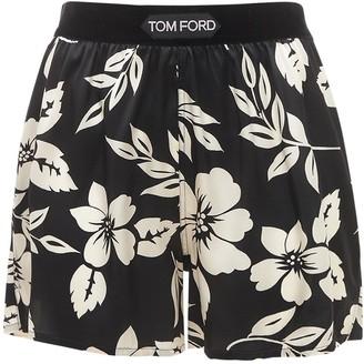 Tom Ford Floral Print Silk Satin Shorts