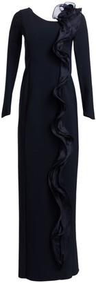Teri Jon By Rickie Freeman Scuba Long-Sleeve Side Ruffle Column Gown
