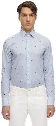 Etro Striped Fish Print Cotton Shirt
