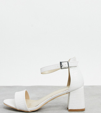 Glamorous Wide Fit heeled sandals in off white lizard