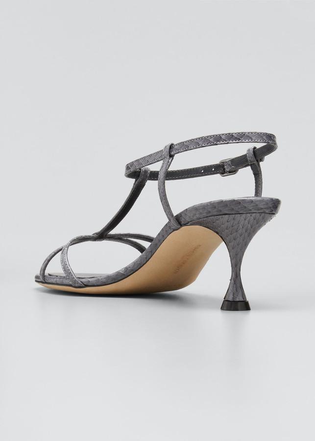 Thumbnail for your product : Manolo Blahnik Raqui T-Strap Python Sandals