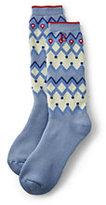 Classic Women's Merino Wool Pattern Winter Boot Socks-Charcoal Glen Plaid