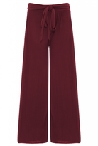 Quiz Berry Pleated Tie Waist Palazzo Trousers