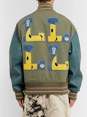 KAPITAL Appliqued Faux Leather And Wool-Blend Tweed Varsity Jacket