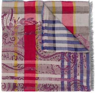 Etro Paisley And Plaid-Print Scarf