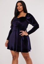 Missguided Plus Size Navy Velvet Milkmaid Skater Dress