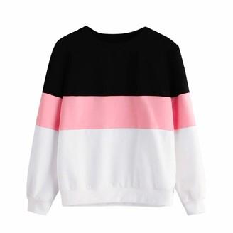 SEWORLD Women Long Sleeve Cut Sew Pullover Stripe Hoodie Print Sweatshirt Blouse Top Pink