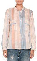 Stella McCartney Striped Gauze Two-Pocket Blouse, Orange/Multi