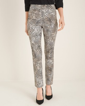 So Slimming Brigitte Animal-Print Slim Ankle Pants