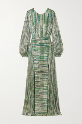 Rotate by Birger Christensen Lisa Striped Metallic Stretch-knit Maxi Dress - Green