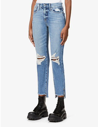 Good American Good Girlfriend Side Step mid-rise stretch-denim jeans