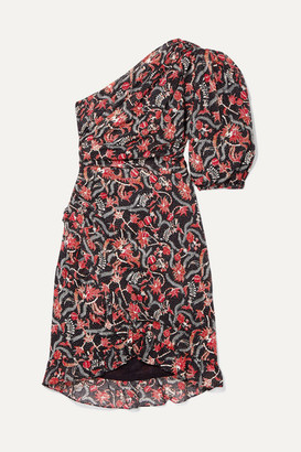 Etoile Isabel Marant Esther One-shoulder Printed Cotton-voile Mini Dress - Black