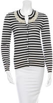 Moschino Cheap & Chic Moschino Cheap and Chic Embellished Virgin Wool Striped Cardigan