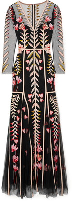 Temperley London Rosy Embroidered Tulle Gown