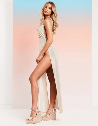 ASOS DESIGN SWIM GLAM jersey high shine split leg maxi beach dress in gold