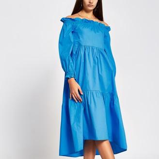 River Island Womens Blue long sleeve bardot midi dress