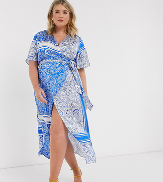 Never Fully Dressed Plus wrap front midi dress in blue scarf print