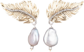 Alexis Bittar Feather Pearl Drop Post Earring