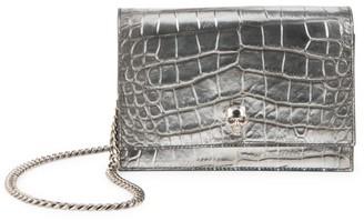 Alexander McQueen Mini Skull Metallic Croc-Embossed Leather Crossbody Bag