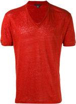 John Varvatos V-neck T-shirt - men - Linen/Flax - XS