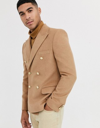 Asos Design DESIGN slim double breasted blazer with gold buttons in brushed camel-Beige