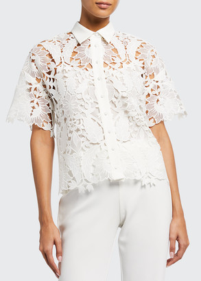 Badgley Mischka Guipure Lace Collared Short-Sleeve Top