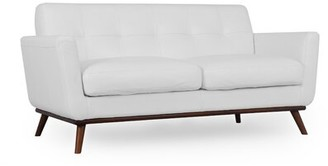 Corrigan Studio Luther Mid-Century Leather Loveseat Upholstery Color: White