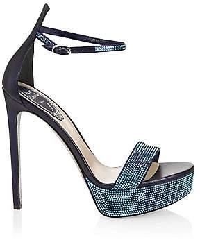Rene Caovilla Women's Crystal-Embellished Satin Platform Sandals