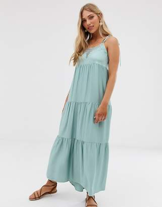 Stradivarius maxi dress with lace insert in green