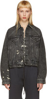 R 13 Black Denim Raglan Trucker Jacket
