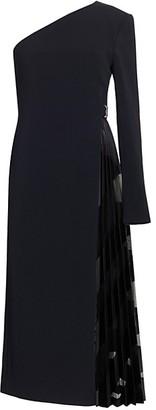 David Koma Devore Pleats One-Shoulder Cocktail Dress