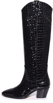 Paris Texas Moc Croco Patent High Camperos Boot in Black