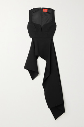 SOLACE London Sienna Asymmetric Draped Crepe Top - Black