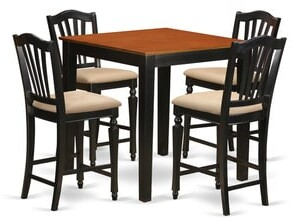 East West Furniture Black Solid Rubberwood 5-piece Counter-height Pub Set