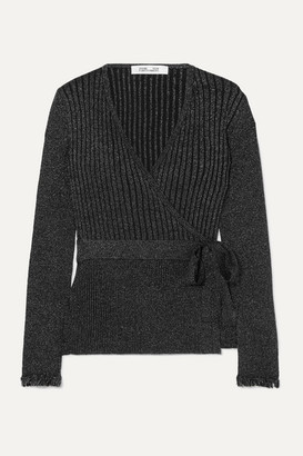 Diane von Furstenberg Beck Ribbed Metallic Merino Wool-blend Wrap Top - Black