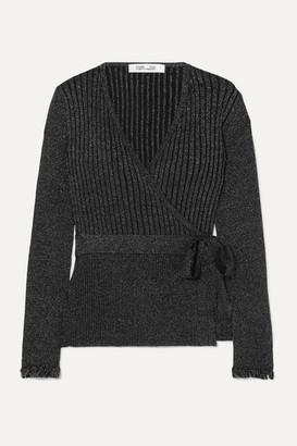 Diane von Furstenberg Beck Ribbed Metallic Merino Wool-blend Wrap Top - Black
