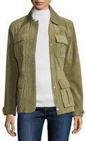 Neiman Marcus Snap-Front Safari Suede Jacket, Olive