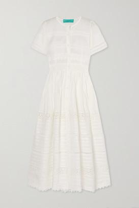 Waimari Camilla Guipure Lace-trimmed Cotton Maxi Dress - White