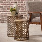 Pulaski Perforated Round Metal Brass Accent Drum Tables in Gold (Set of 2)