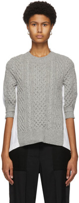 Sacai Grey and White Cable Knit Pleated Back Sweater