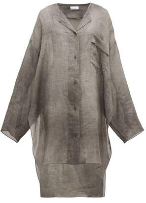 Raey Sheer Linen Shirtdress - Womens - Grey