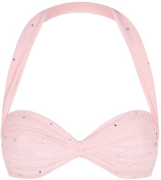 Norma Kamali Rhinestone-Embellished Mesh Bikini Top