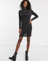 Pimkie glitter mesh dress in black